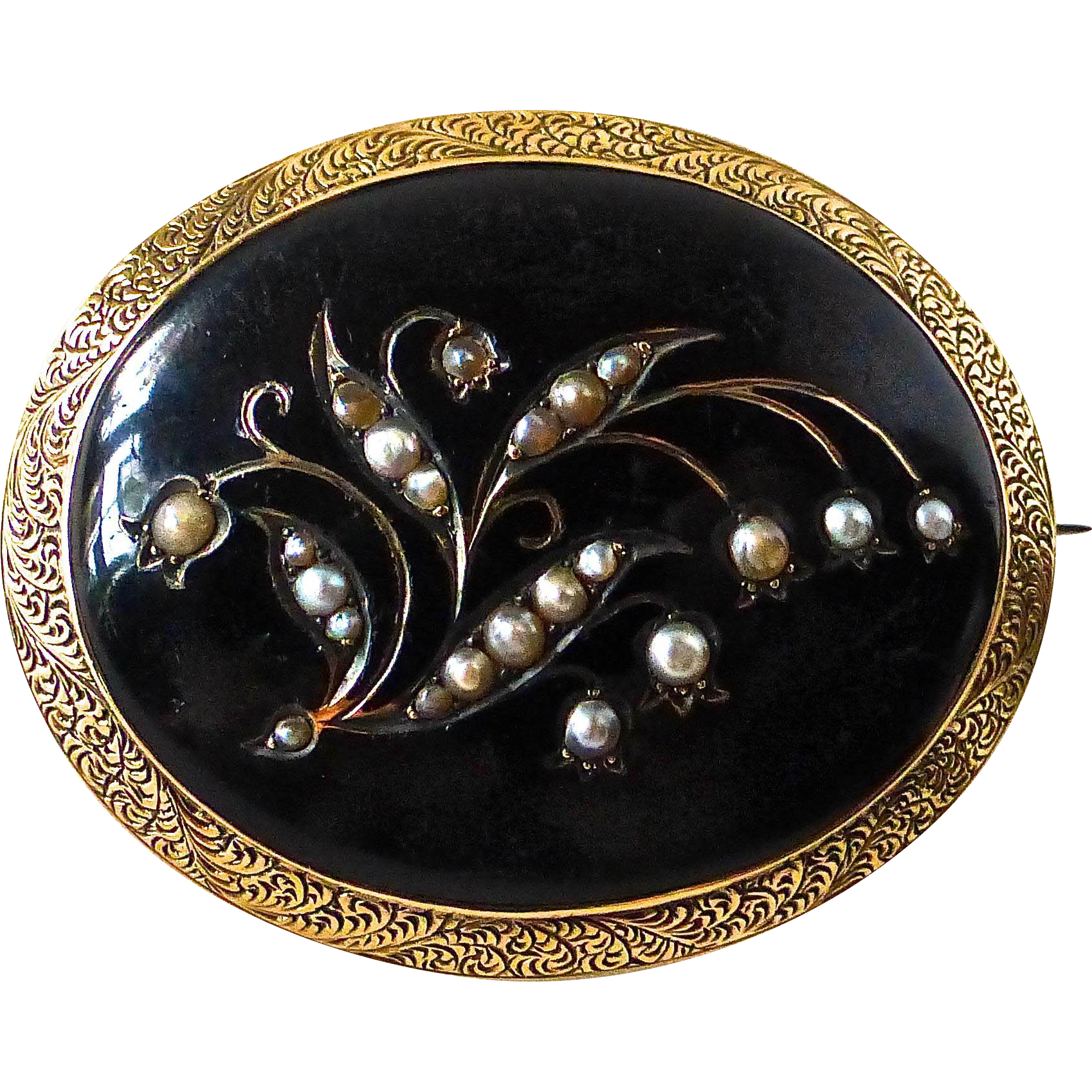 Antique Victorian 14k Mourning Pin Enamel Seed Pearls