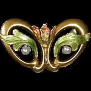 14k Art Nouveau Iridescent Enamel Tulip Watch Pin