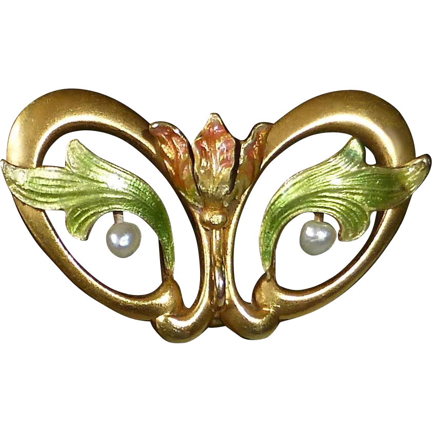 14k Art Nouveau Iridescent Enamel Tulip Watch Pin