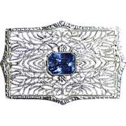 Art Deco 14k White Gold Filigree Synthetic Sapphire Pin