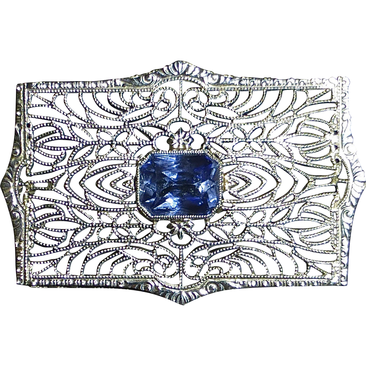 Art Deco 14k White Gold Filigree Synthetic Sapphire Pin