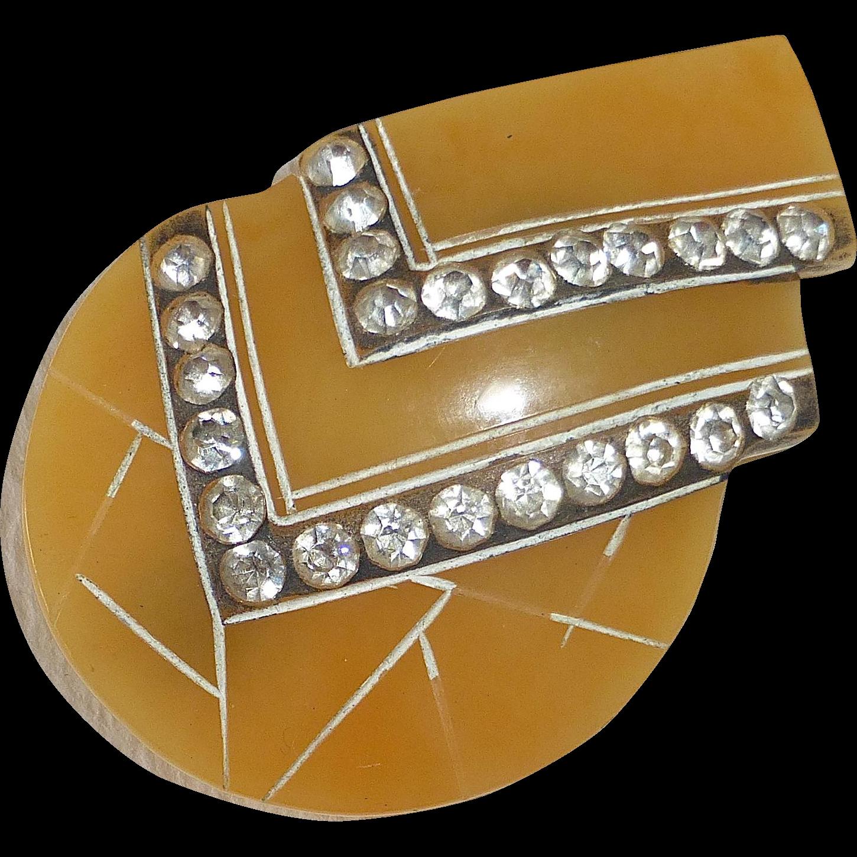 Art Deco Celluloid & Paste Pin