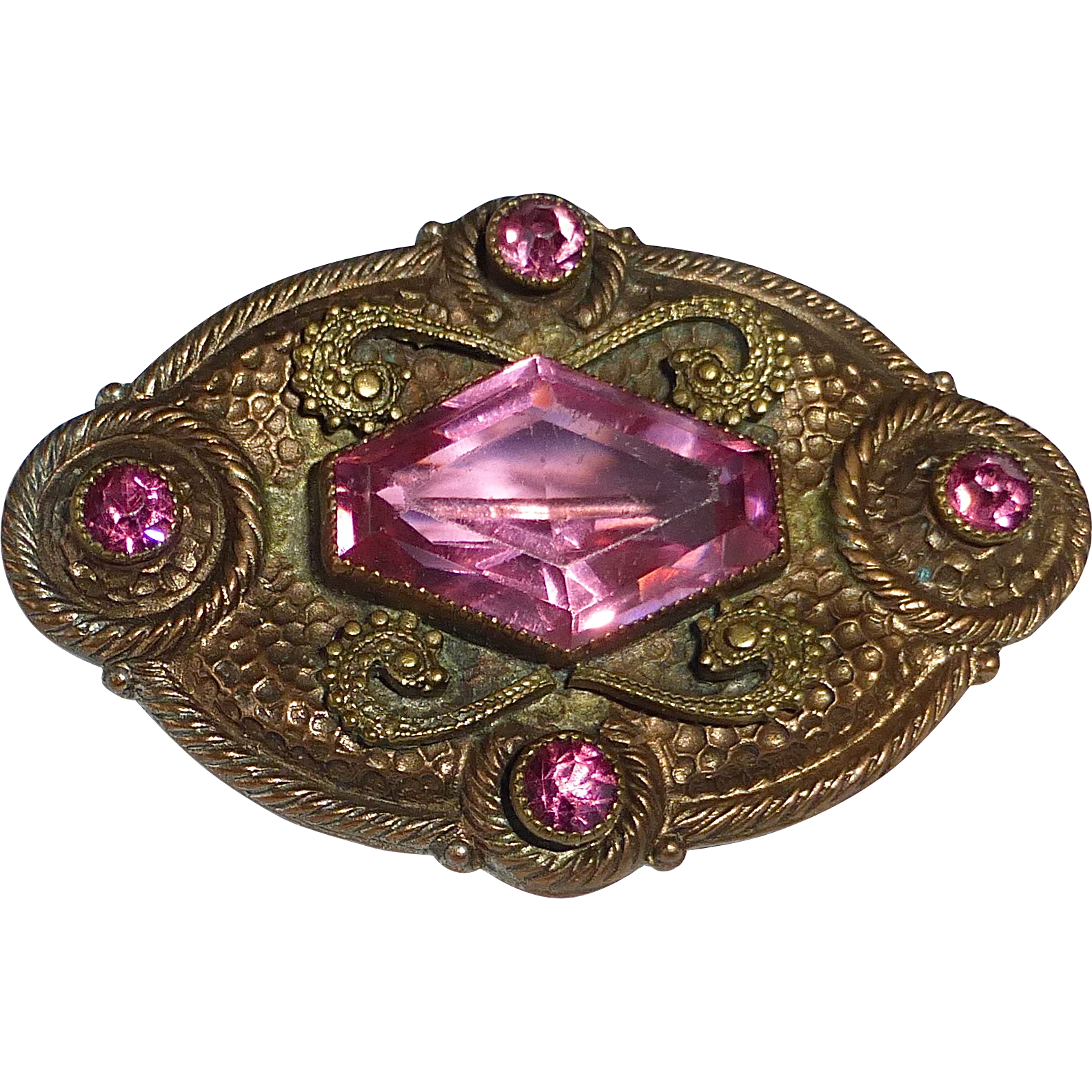 Edwardian Bronze Pin w Pink Crystals