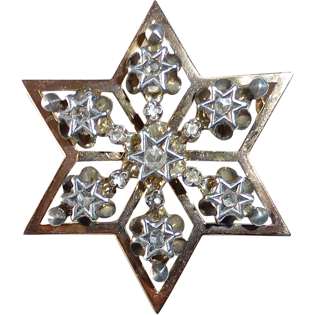 14k Rose Gold & Silver Georgian Star Pin Rose Cut Diamonds