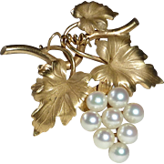 Gold Filled HSB Cultured Pearls Grapes Pin/Pendant