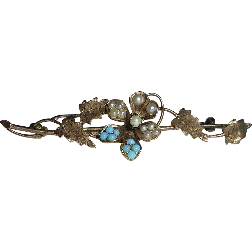 Victorian 10k Yellow Gold Bar Pin ~ Pearls & Turquoise