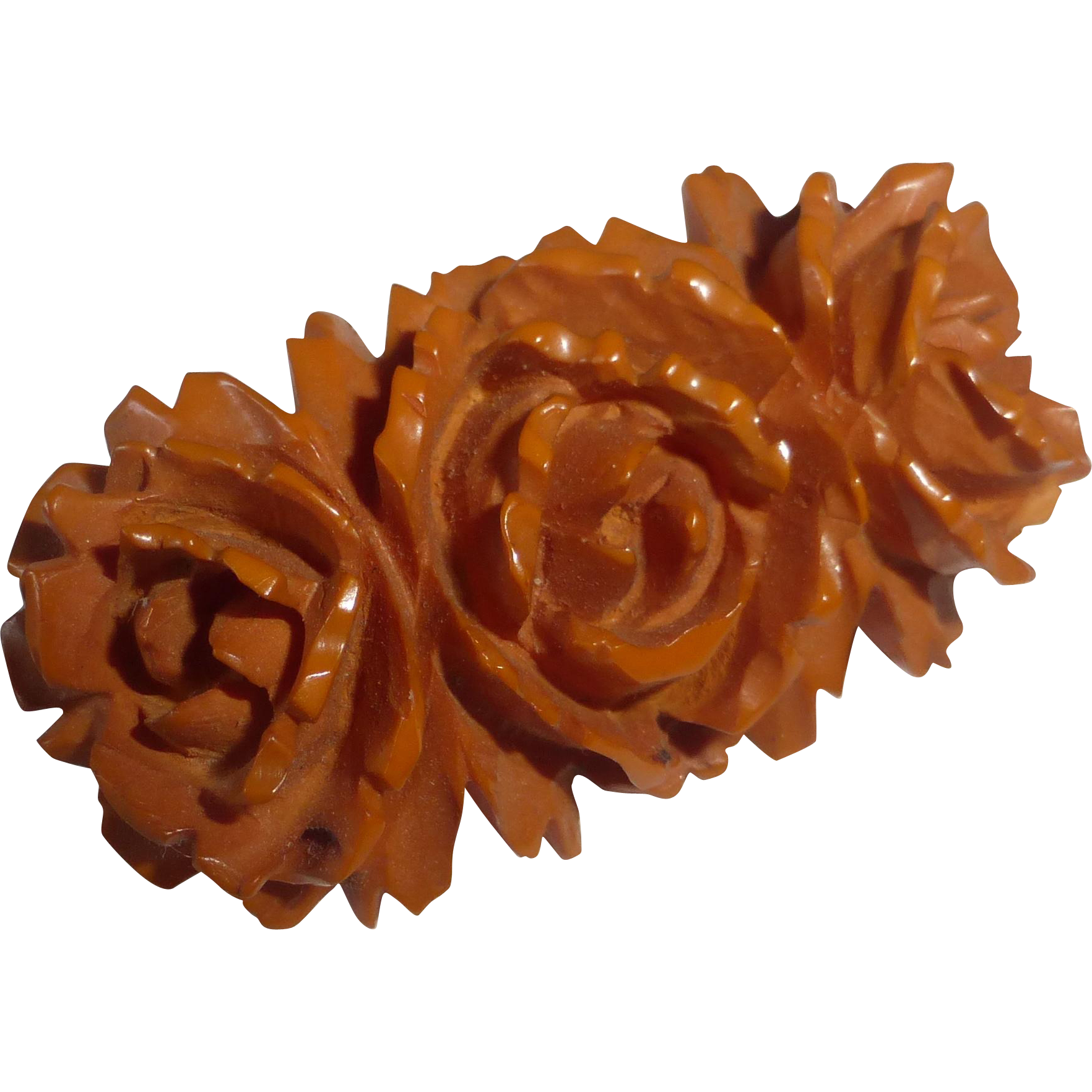 Butterscotch Bakelite Carved Triple Rose Pin