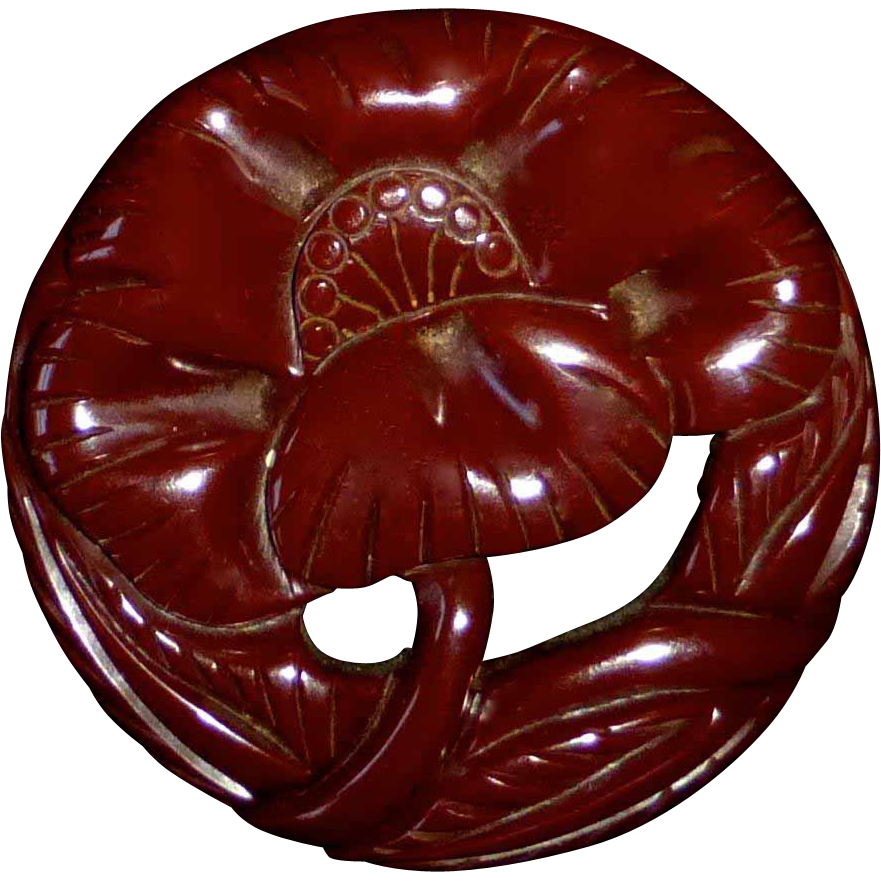 Carved Red-Brown Bakelite Large Flower Pin