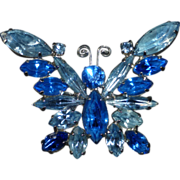 Rhinestone Butterfly Pin in Shades of Blue