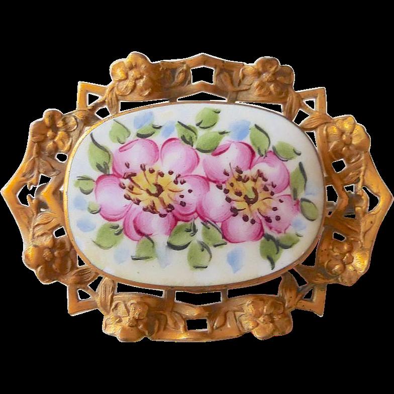 Victorian Revival Pin Cherry Blossom Enamel Pierced Brass Frame