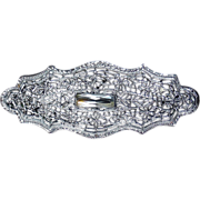 Art Deco Rhodium Finish Filigree Pin Crystal Jewel