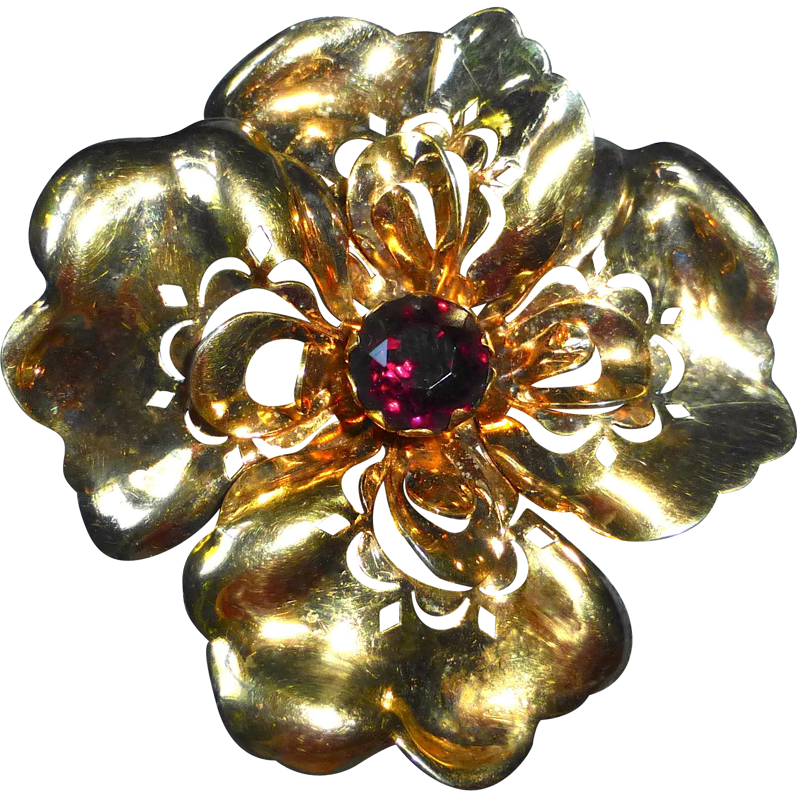 Gold Filled A Regel Designer Flower Brooch