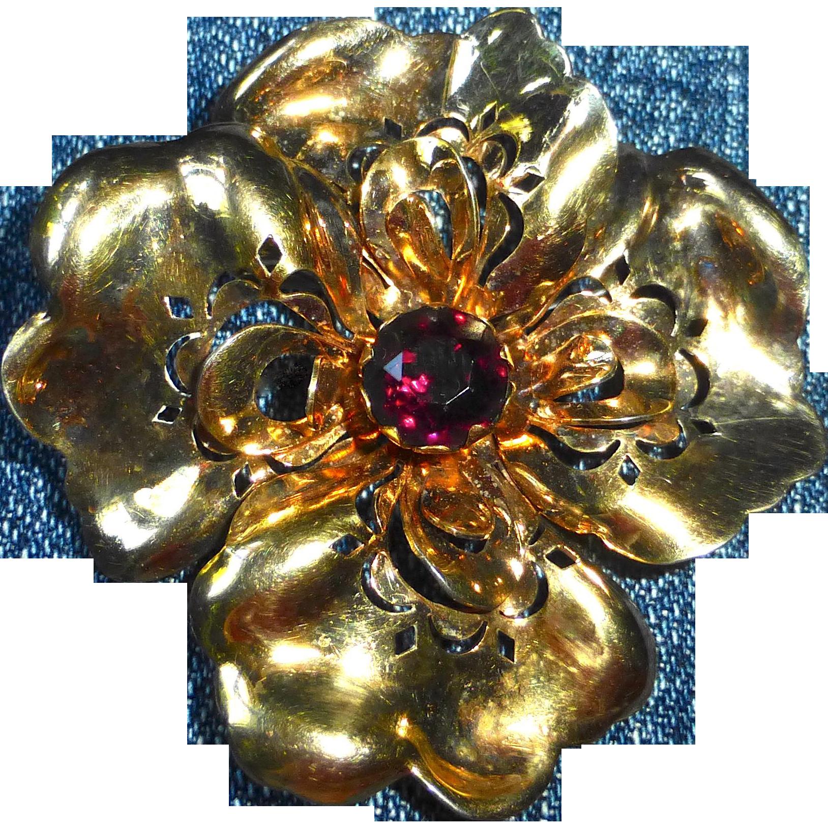 Gold Filled A Regel Designer Flower Brooch