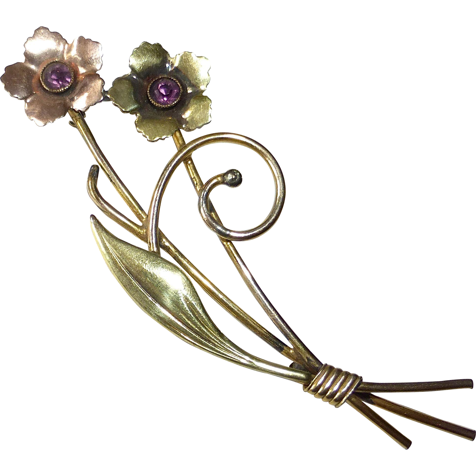 Rose & Green Gold Filled Retro Floral Spray Pin