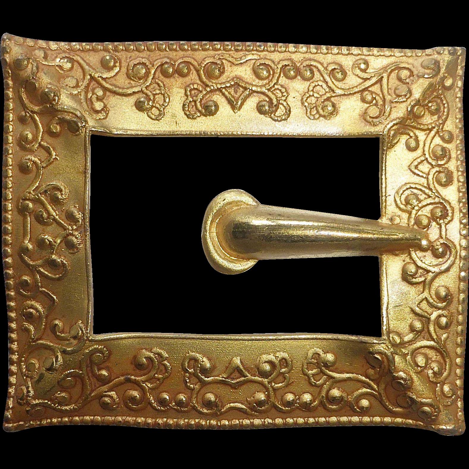 Victorian Gilt Brass Buckle Motif Sash Pin
