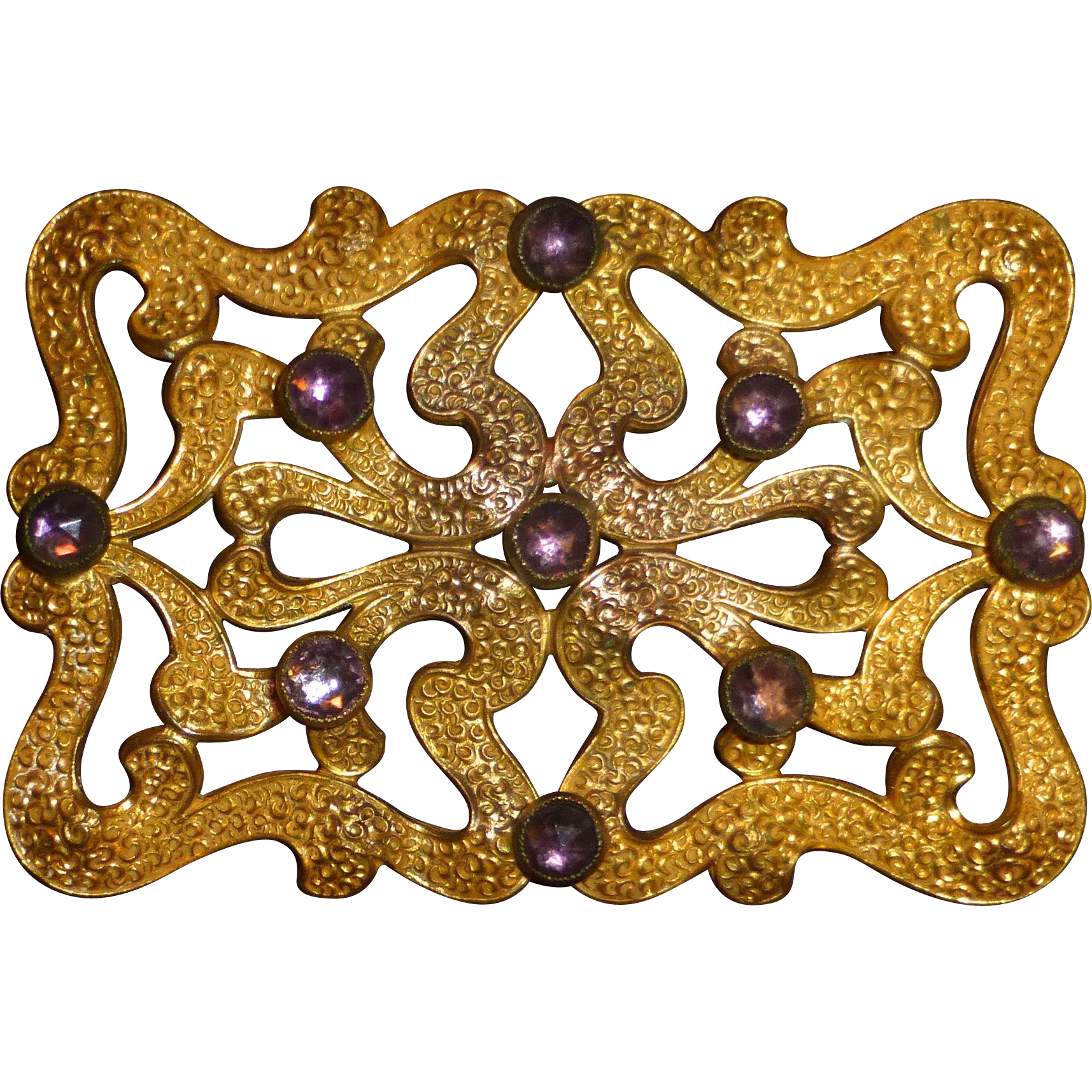 Art Deco Gilt Brass Sash Ornament Brooch