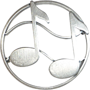 Beau Sterling Musical Notes Pin