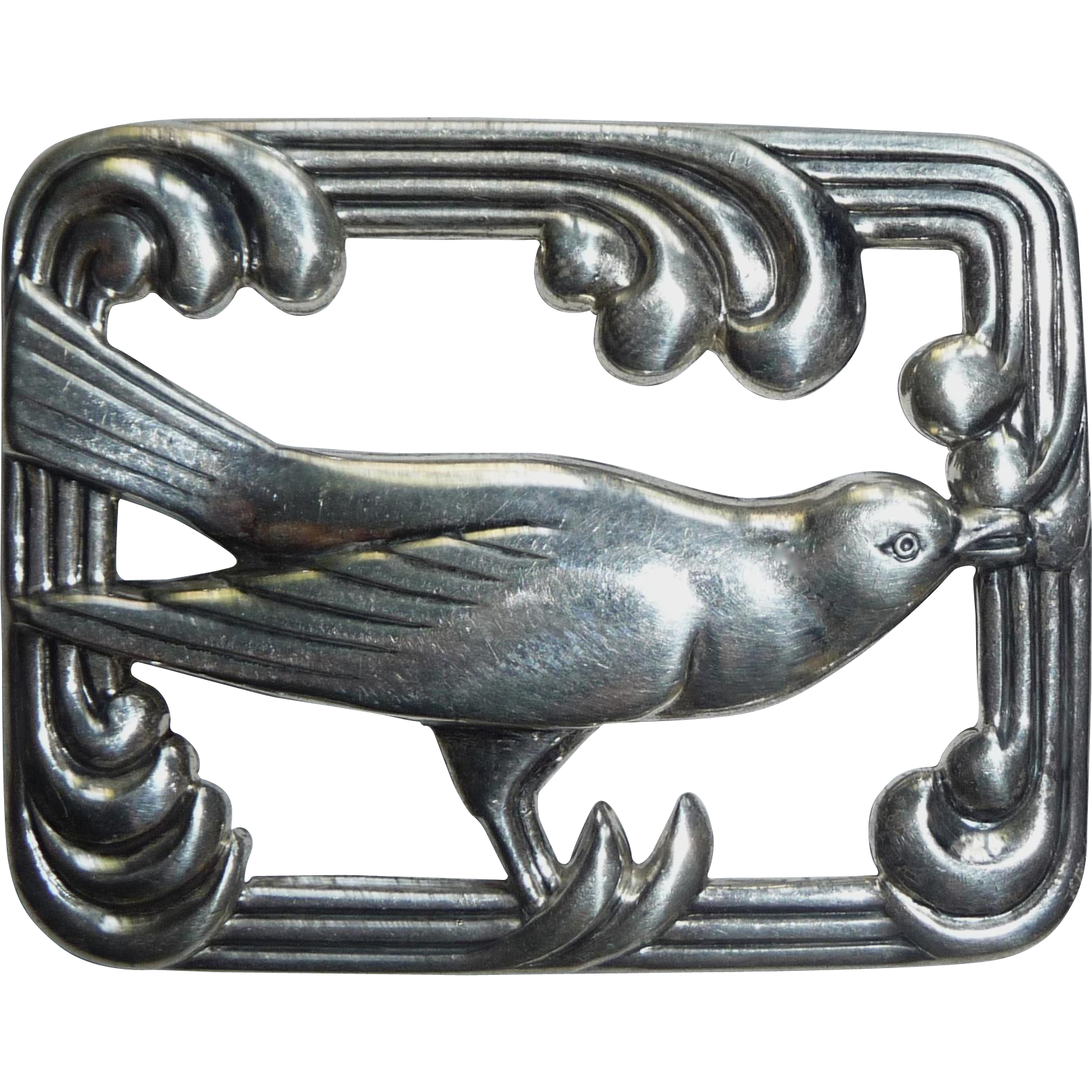 Coro Norseland Sterling Silver Repousse Bird Pin