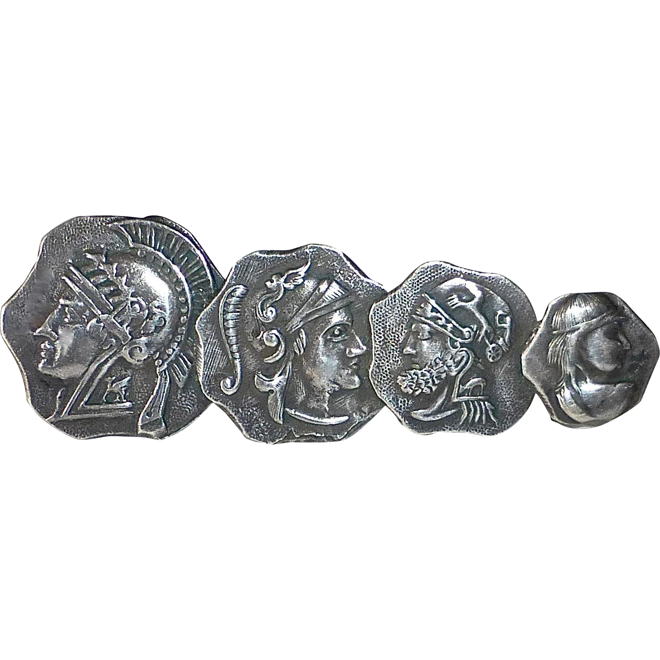 Sterling Pin Four Greco-Roman Warrior Faces