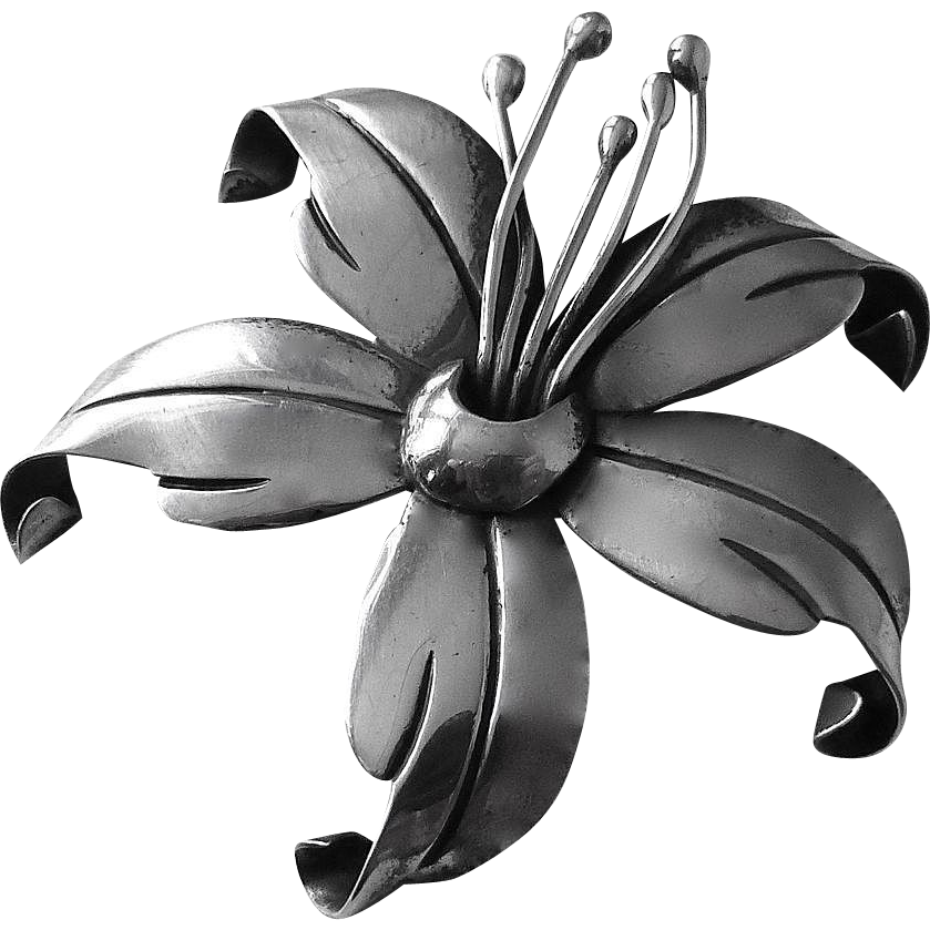Maricela Mexican Sterling Sculptural Lily Pin