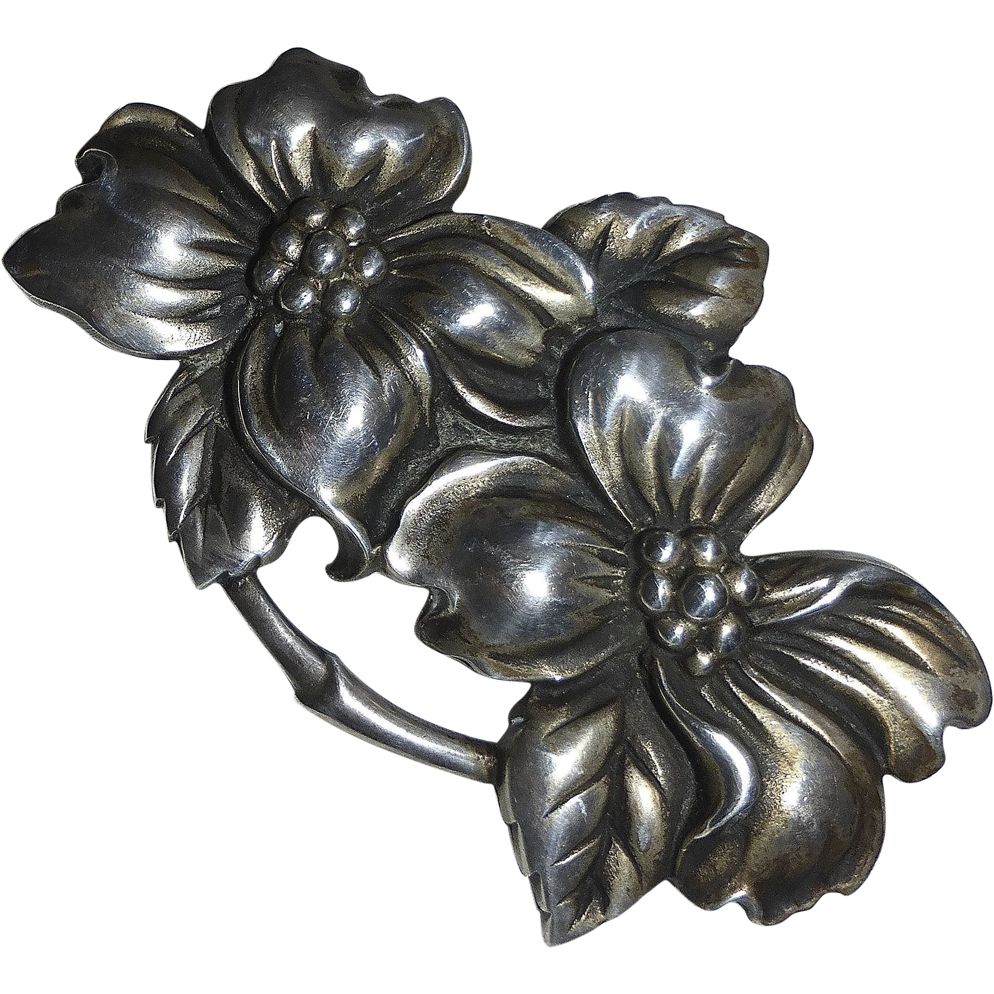 Viking Craft Sterling Dogwood Flowers Pin