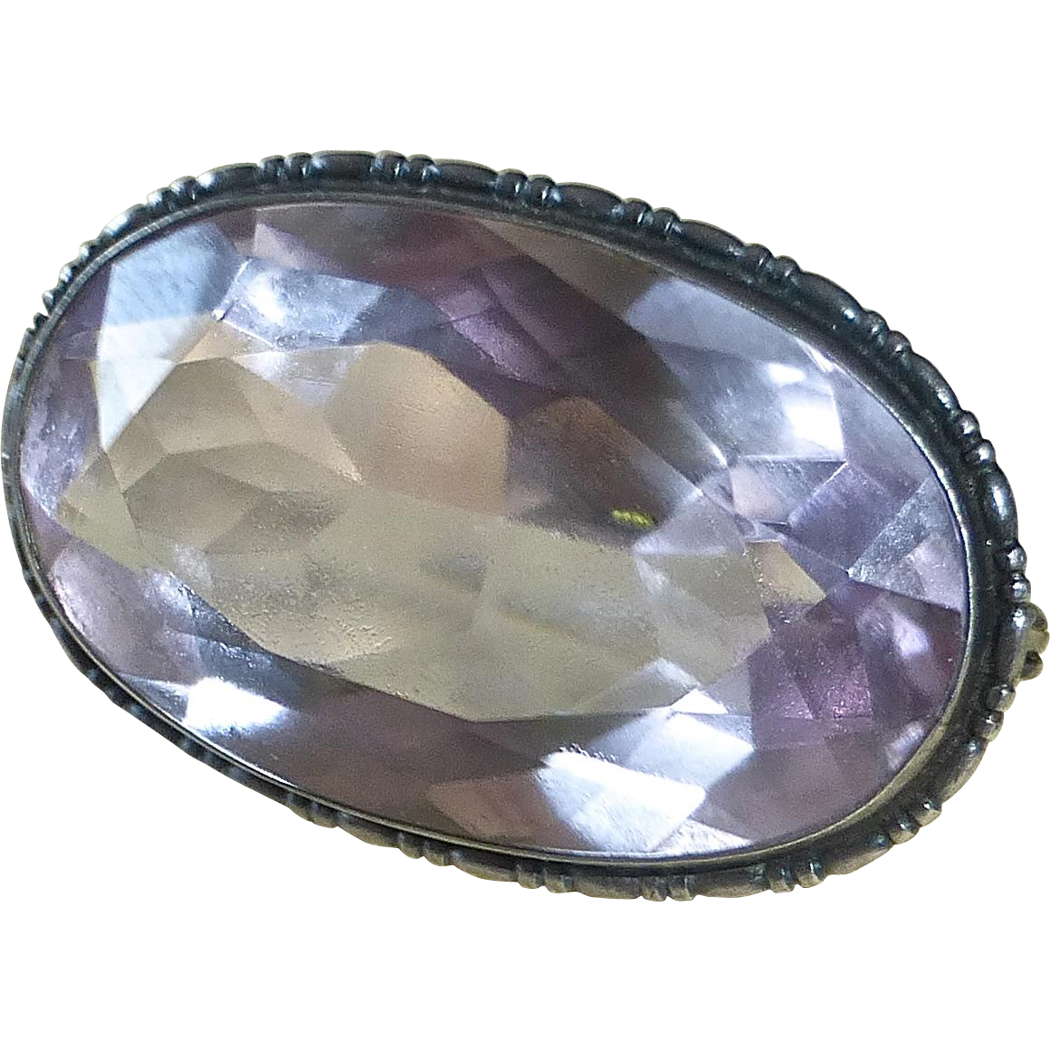 Faceted Large Amethyst Sterling Frame Art Deco Pin