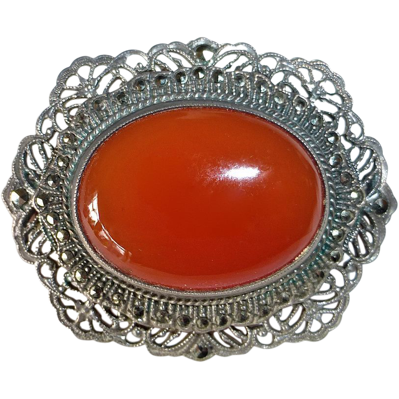 Art Deco Filigree Sterling Carnelian Marcasite Pin