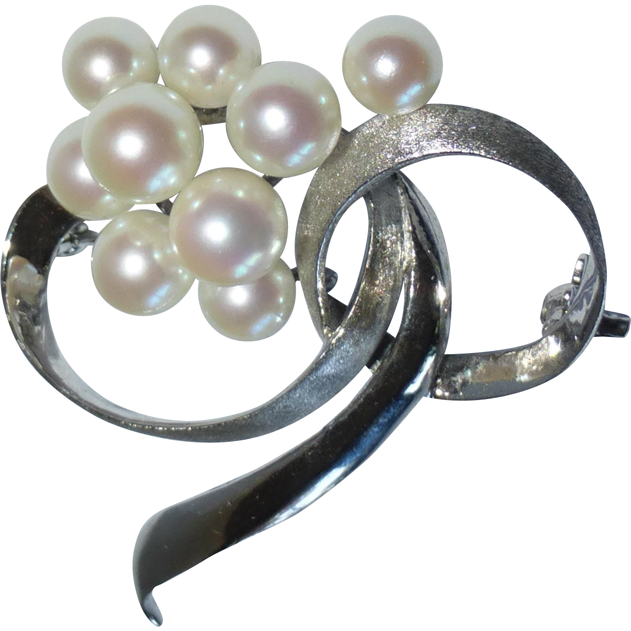 Sterling & Cultured Pearl Modernist Pin