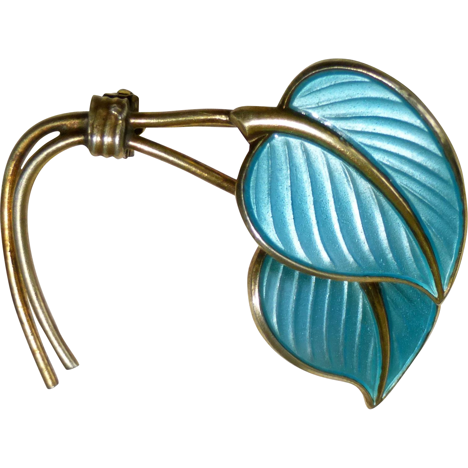 Norway Sterling Enamel Hans Myhre Double Leaf Pin