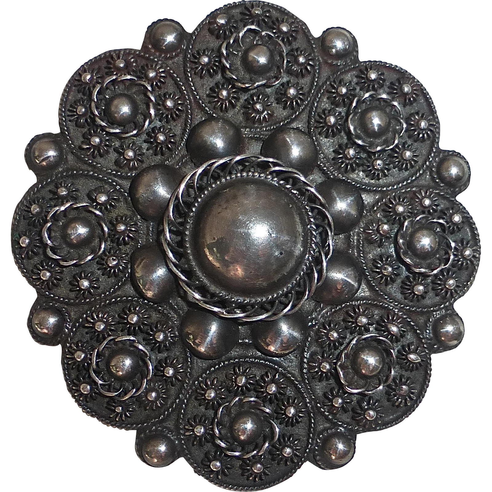 Sterling Silver Layered Cannetille Filigree Pin w Sculptural Domes