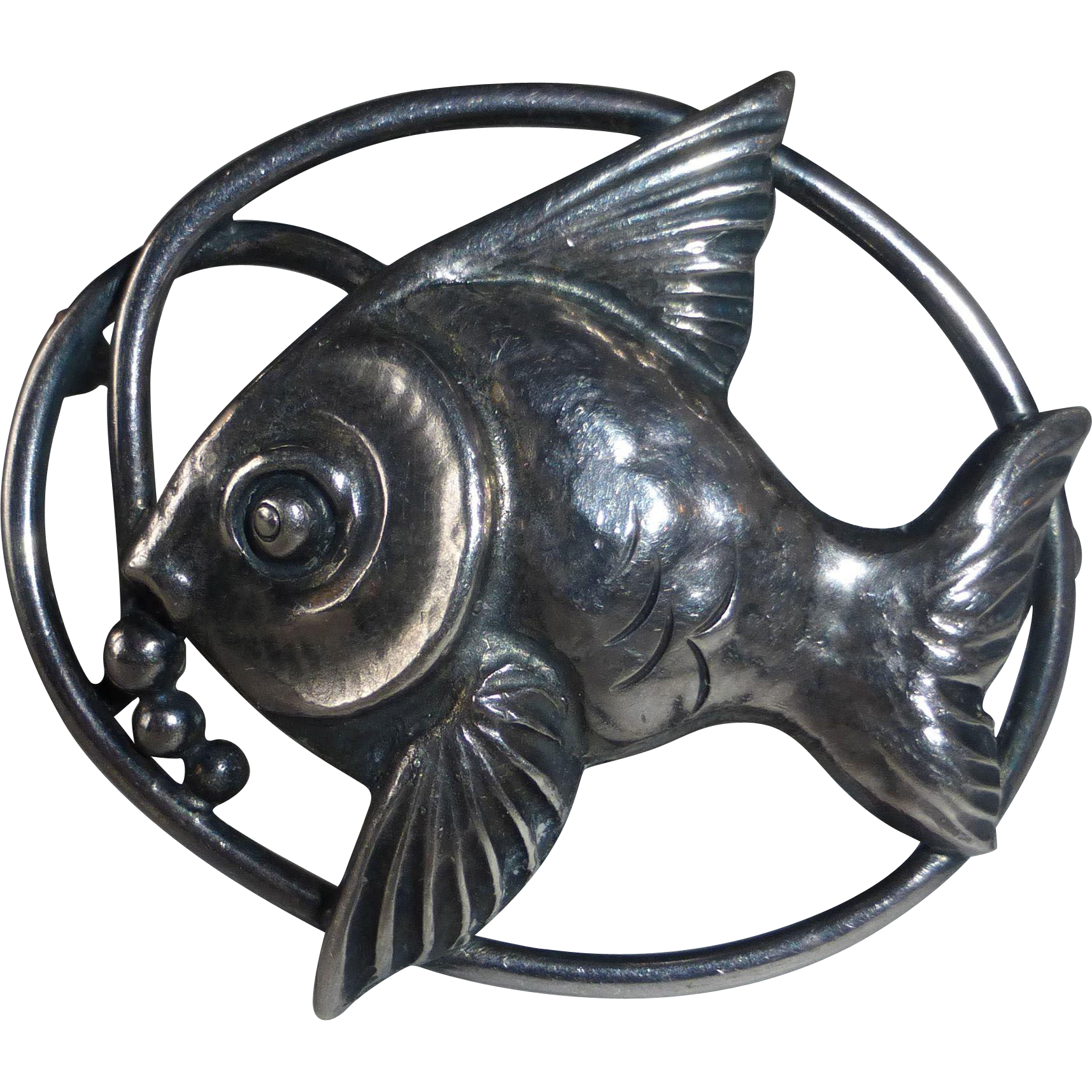 Hallmarked 900 Sterling Repousse Fish Pin