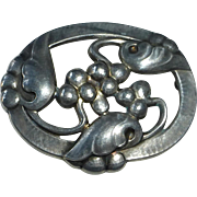 Georg Jensen Sterling Moonlight & Grapes Pin 101