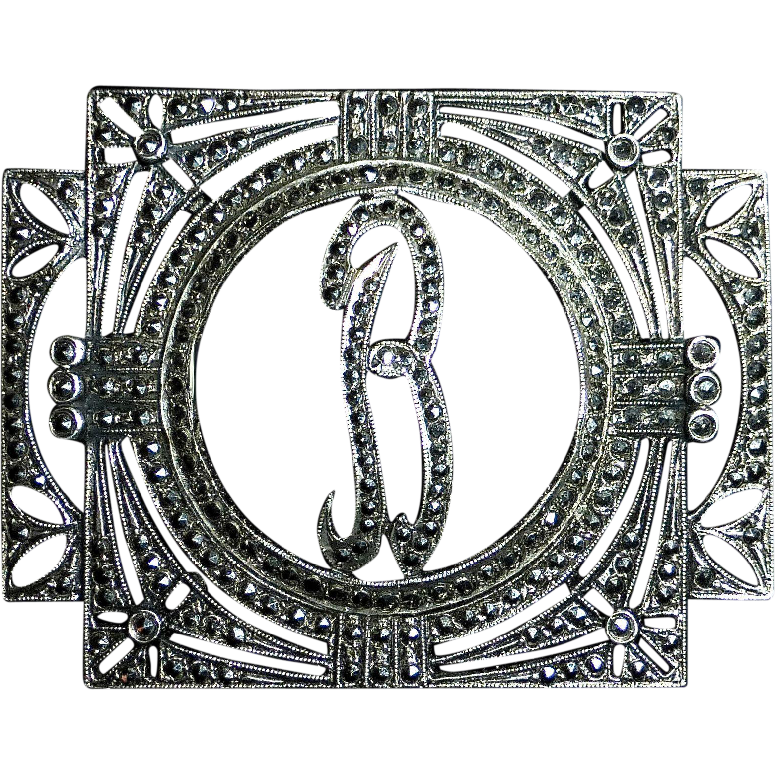 Sparkling Art Deco Sterling Silver & Marcasite B Initial Pin