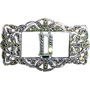 Art Deco Sterling & Marcasite Initial D Pin