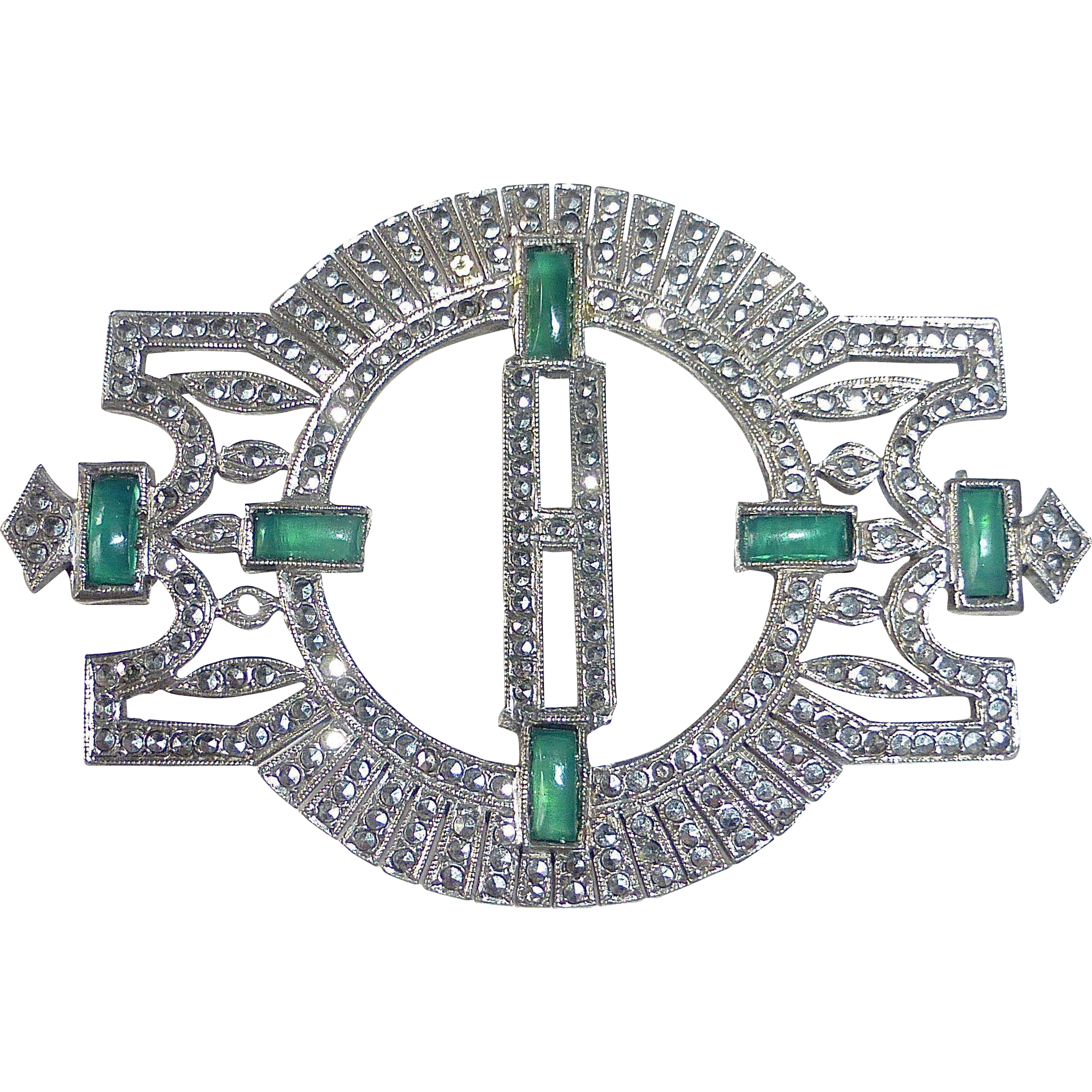 Art Deco Sterling & Marcasite & Chrysoprase Initial H Pin