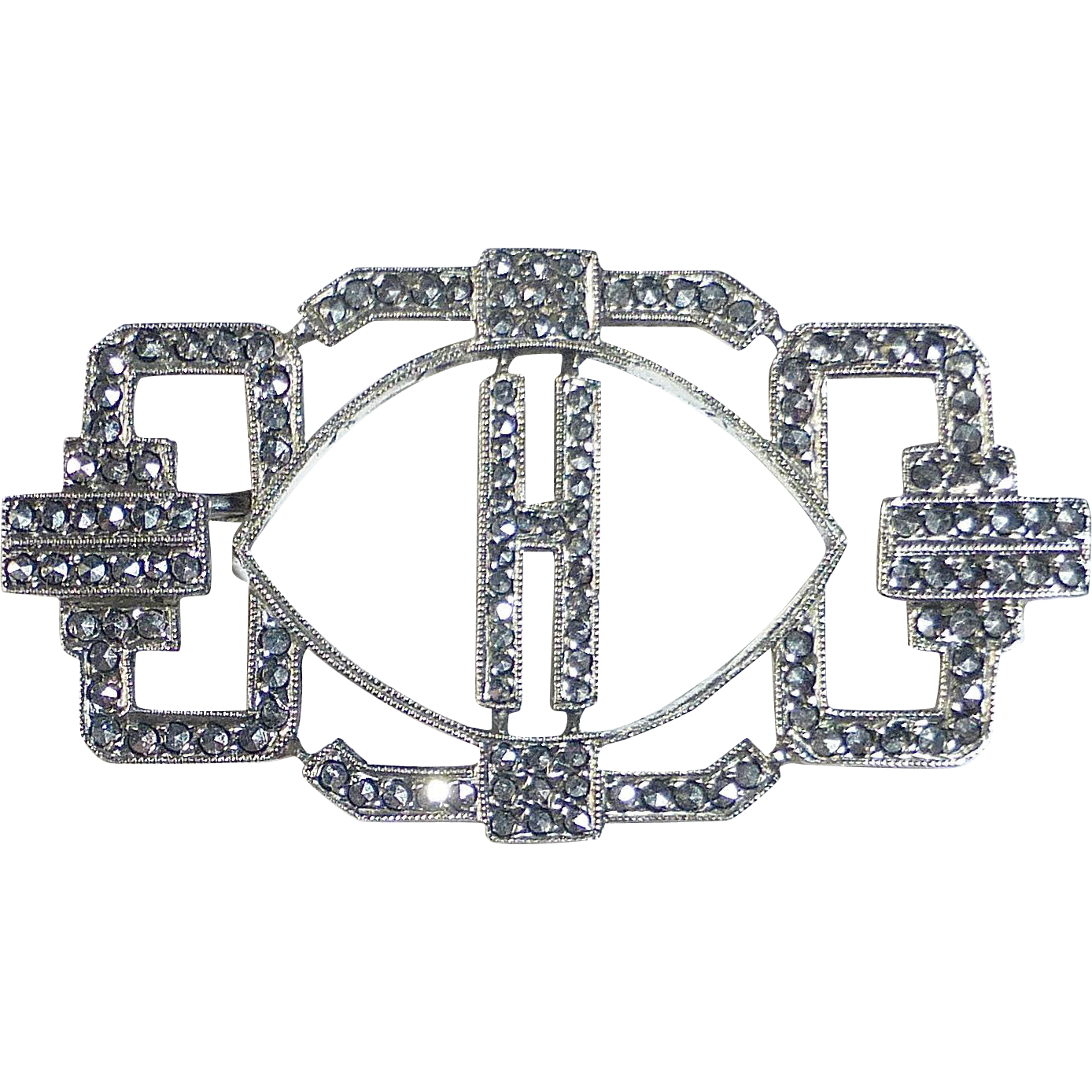 Art Deco Sterling & Marcasite H Initial Pin