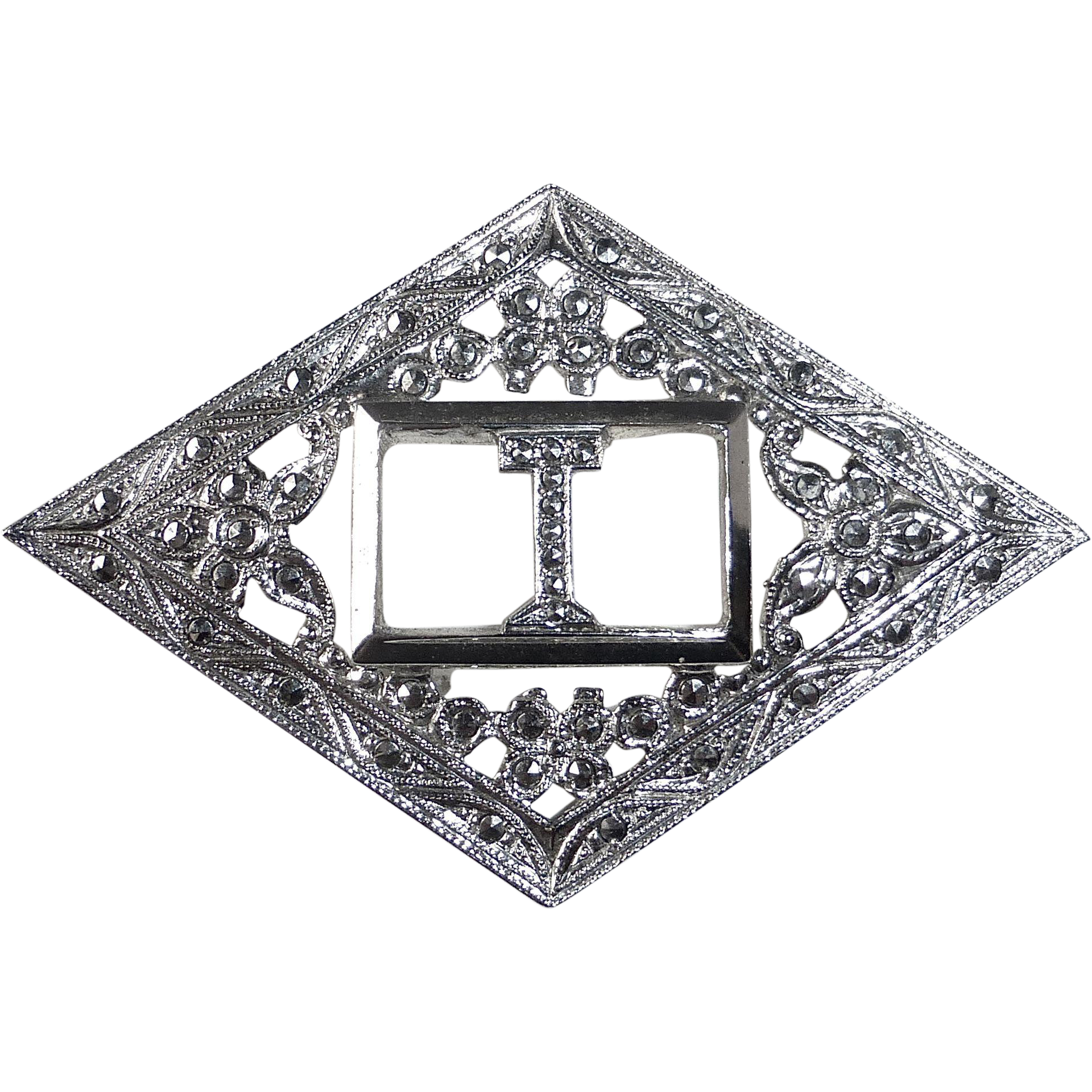 Art Deco Sterling & Marcasite Initial Initial T Pin