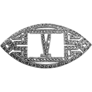 Art Deco Sterling Silver & Marcasite Initial V Pin