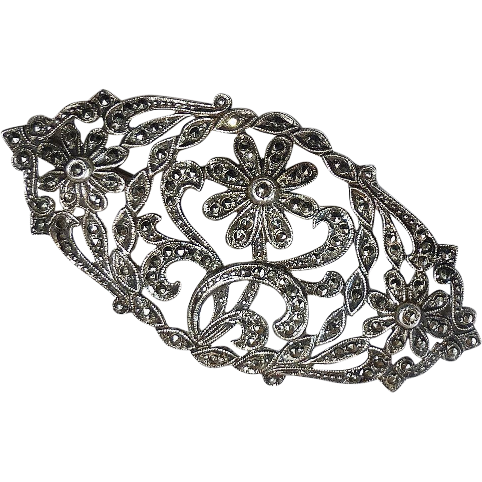 Sterling Marcasite Domed & Pierced Floral Design Pin