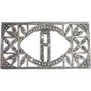 Art Deco Sterling & Marcasite A Initial Pin