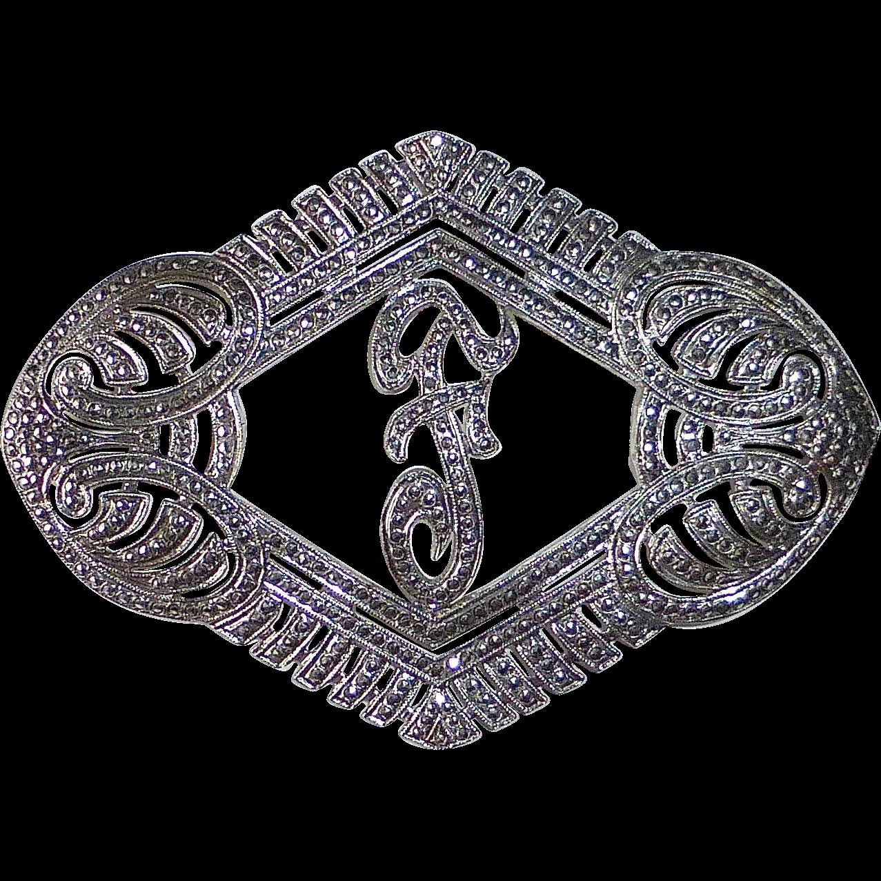 Glittering Art Deco Sterling Silver & Marcasite Fancy Script F Initial Pin