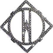 Sparkling Art Deco Sterling Silver & Marcasite W Initial Pin