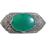 Art Deco Sterling Marcasite Chrysoprase Pin