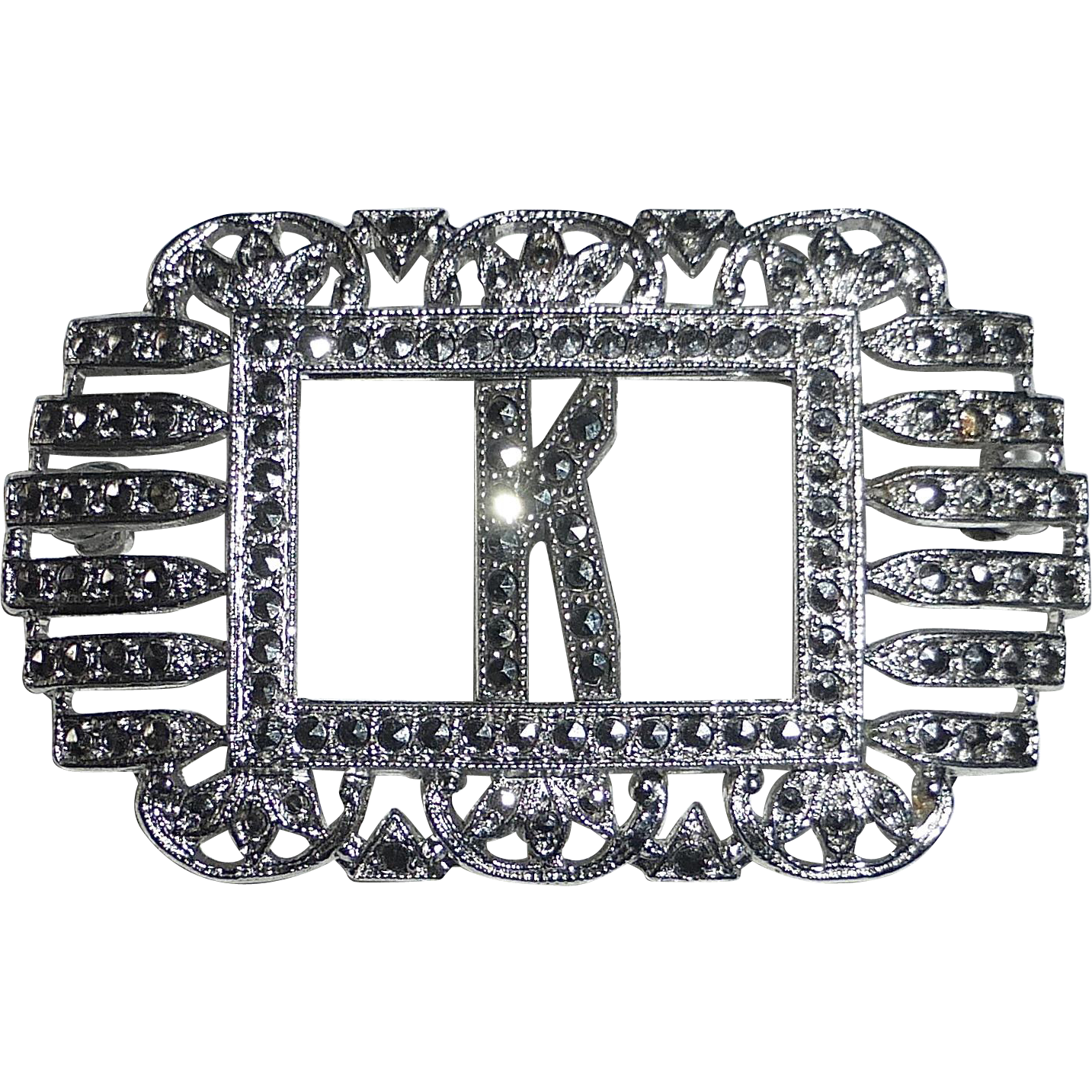 Art Deco Sterling & Marcasite Initial K Pin