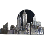 Sterling Silver & Onyx New York City Skyline Pin