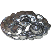 Sterling Silver Dimensional Poppies Pin