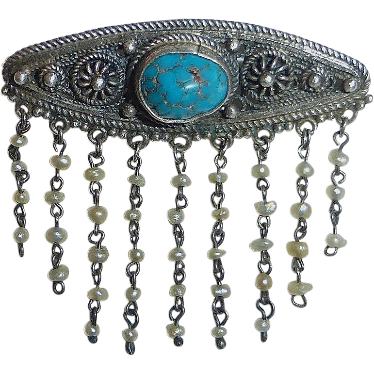 Old Afghani Sterling & Turquoise Pin Seed Pearl Fringe