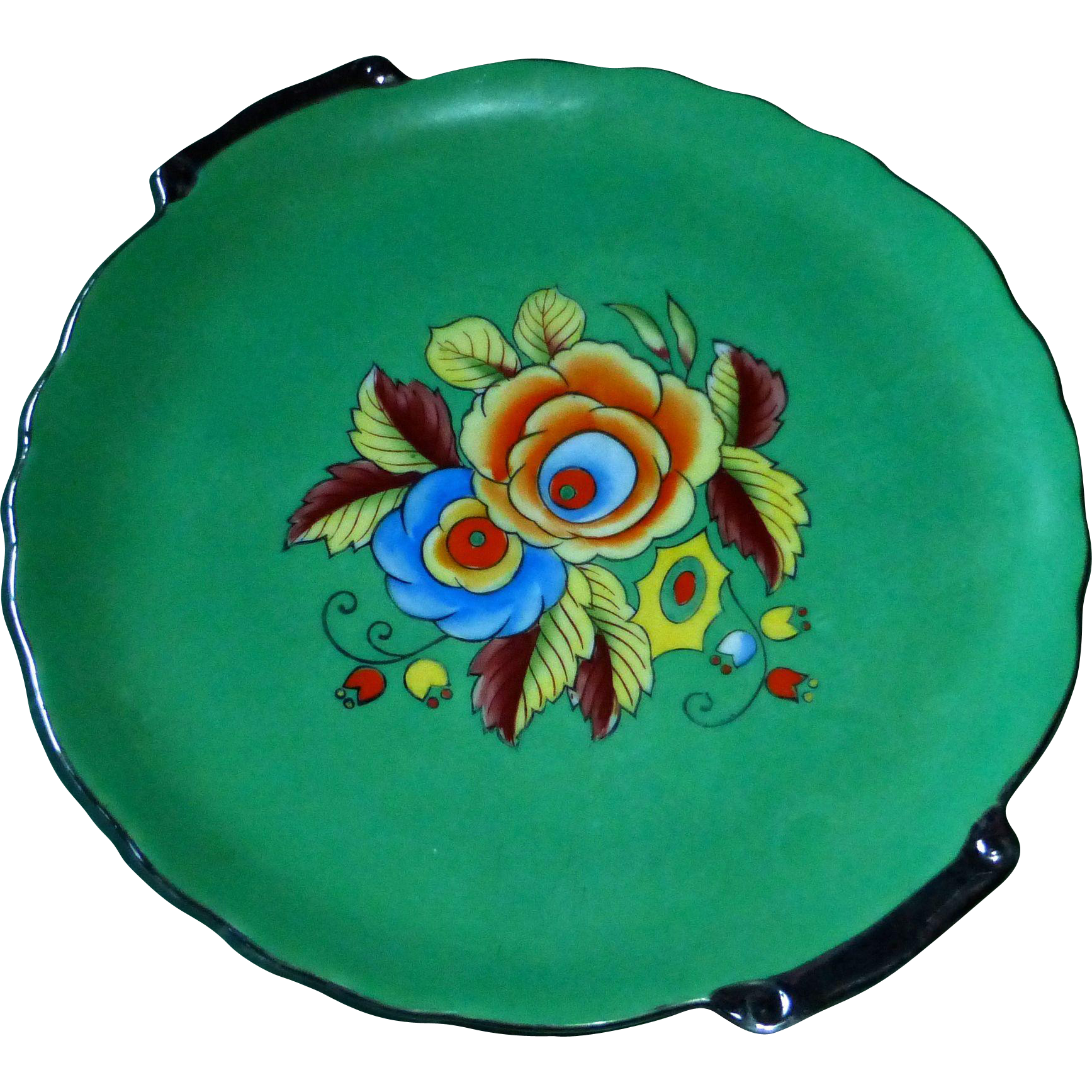Japan China Serving Plate Bright Floral Center
