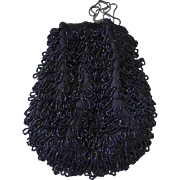Art Deco Iridescent Midnight Blue Beaded Drawstring Bag