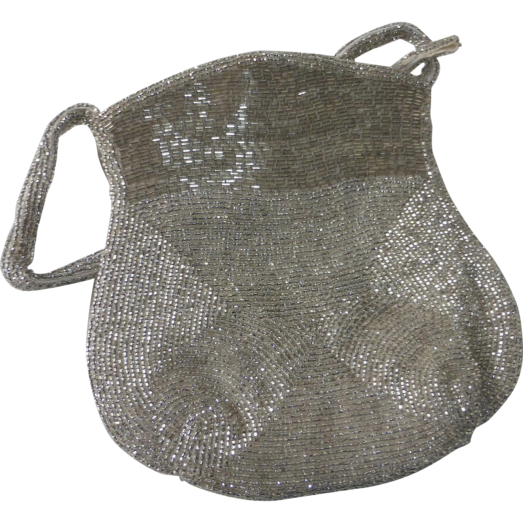 Glowing Silver Bugle & Seed Bead Purse